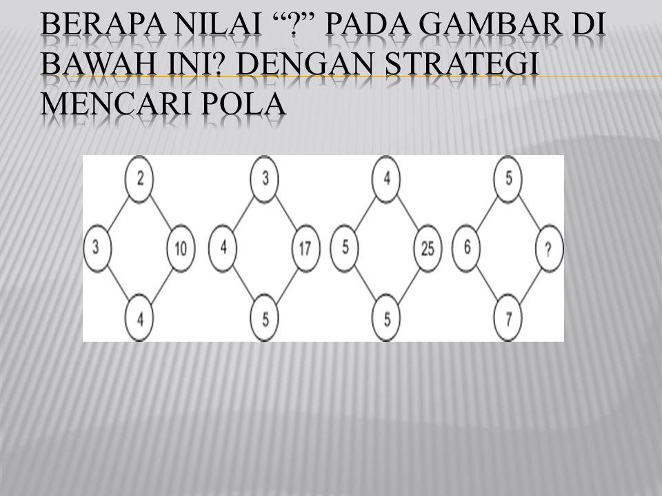 Soal slide 32 nomor 6 X + = X + = XX ++ = = CARA 1 2X3+4=10 3X4+5=17 4X5+5=25 JADI, 5X6+7=37 DAPAT MENGGUNAKAN CARA MENCARI POLA
