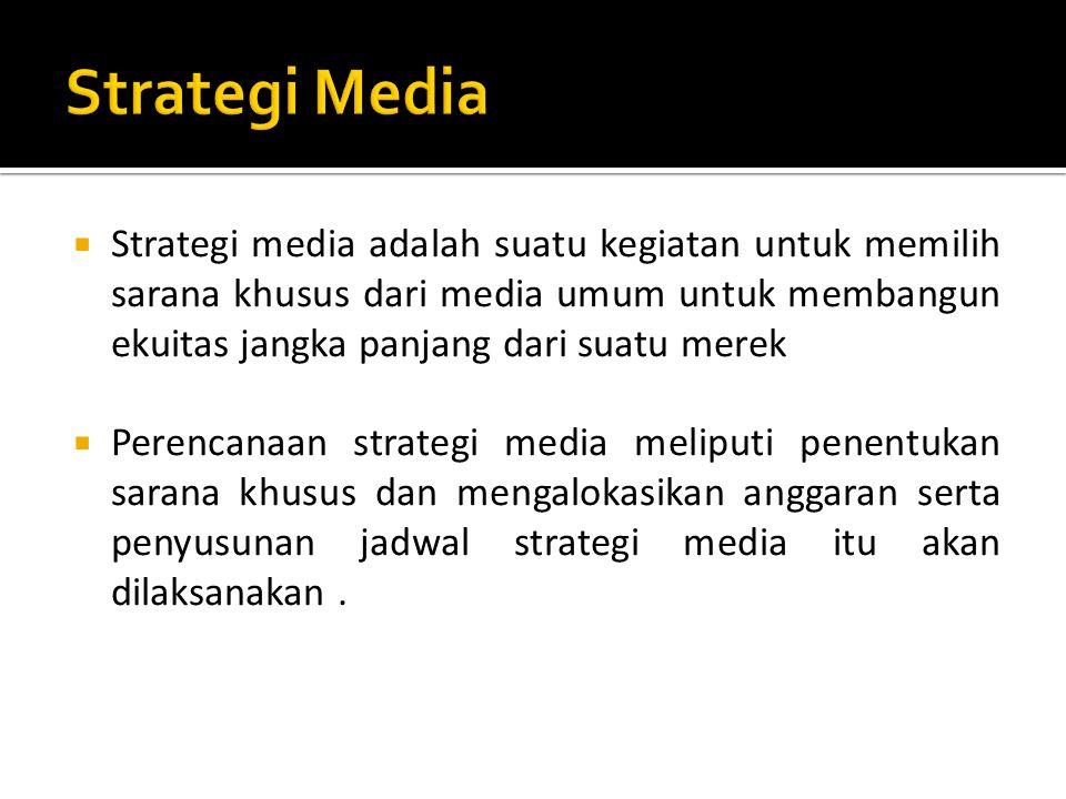  Memilih Audiens  Menspesifikasi tujuan media  Memilih Kategori media dan sarana  Membeli media