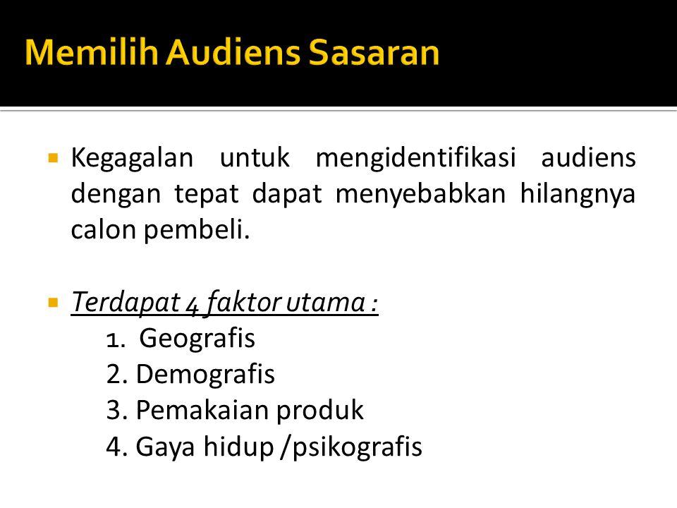  Lima tujuan berikut merupakan dasar perencanaan media.