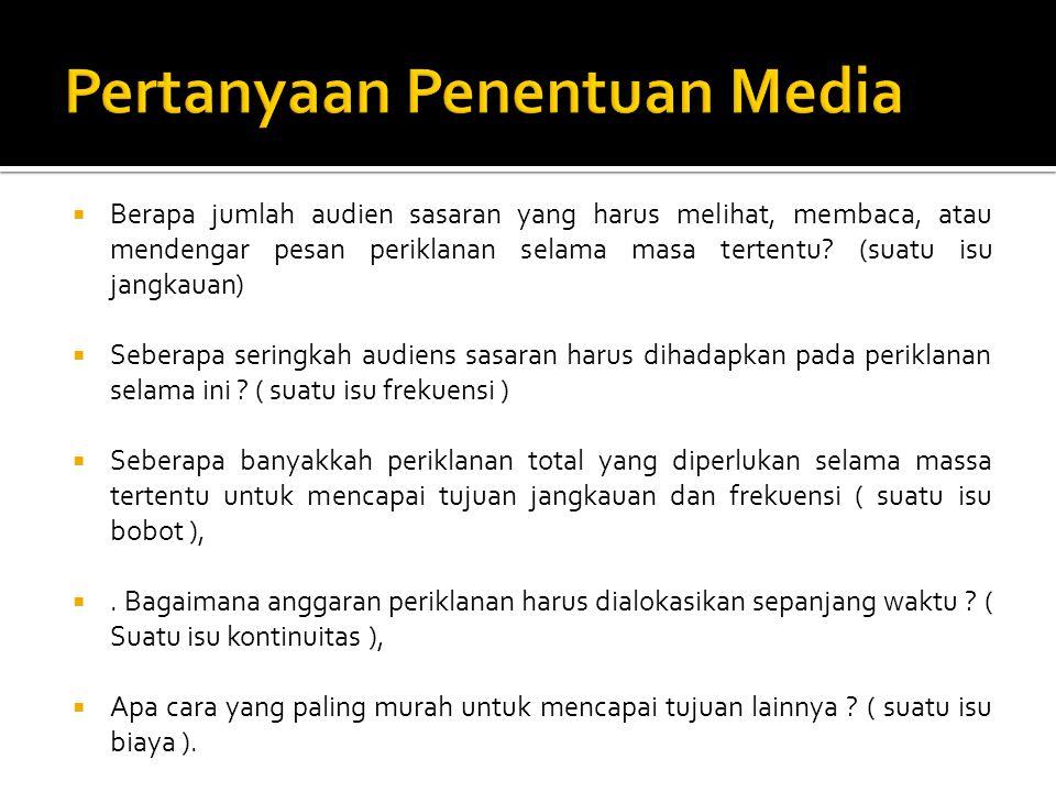  Jangkauan Pada umumnya, semakin banyak media yang digunakan, semakin besar pula kesempatan suatu pesan iklan sampai kepada orang-orang atau masyarakat.