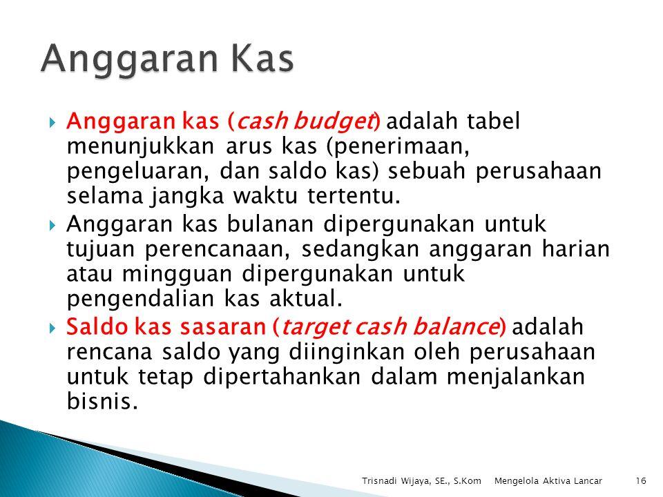  Anggaran kas (cash budget) adalah tabel menunjukkan arus kas (penerimaan, pengeluaran, dan saldo kas) sebuah perusahaan selama jangka waktu tertentu
