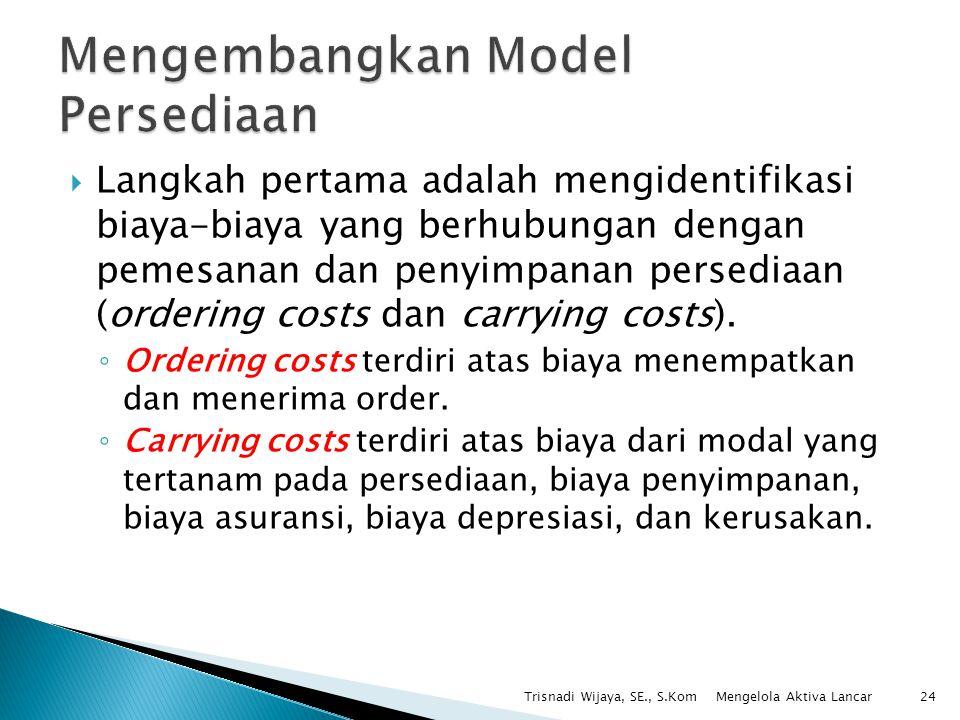  Langkah pertama adalah mengidentifikasi biaya-biaya yang berhubungan dengan pemesanan dan penyimpanan persediaan (ordering costs dan carrying costs)