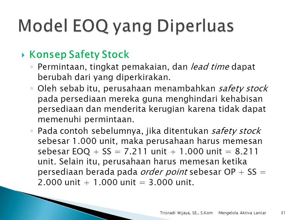  Konsep Safety Stock ◦ Permintaan, tingkat pemakaian, dan lead time dapat berubah dari yang diperkirakan. ◦ Oleh sebab itu, perusahaan menambahkan sa