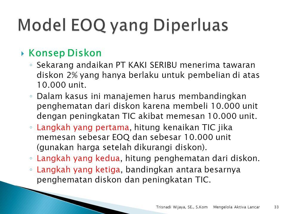  Konsep Diskon ◦ Sekarang andaikan PT KAKI SERIBU menerima tawaran diskon 2% yang hanya berlaku untuk pembelian di atas 10.000 unit. ◦ Dalam kasus in