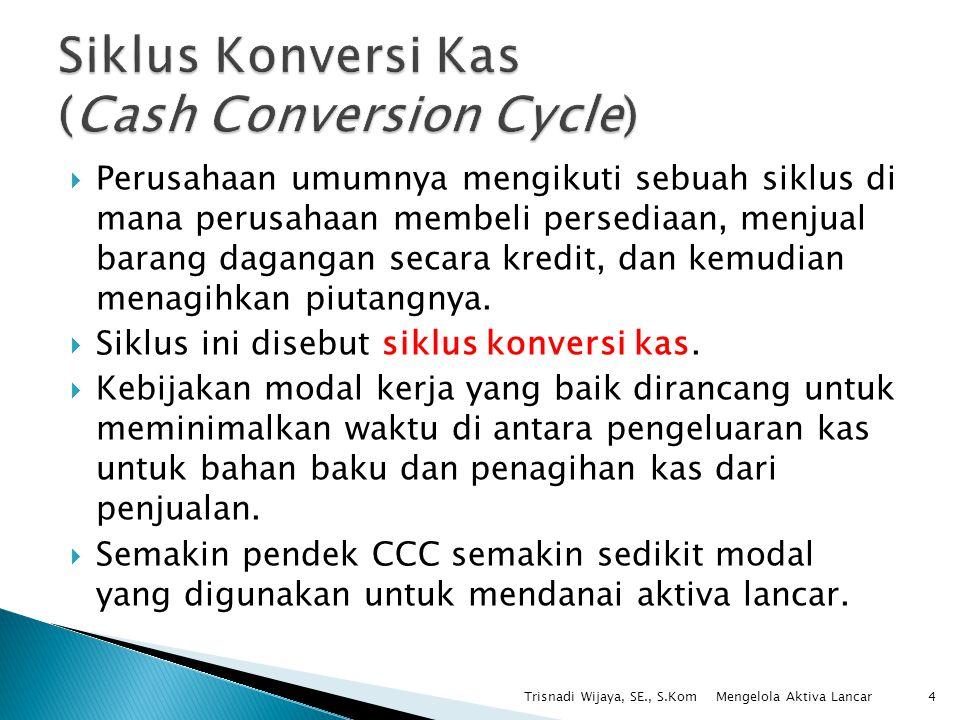  Model siklus konversi kas (cash conversion cycle model) berfokus pada rentang waktu yang terjadi ketika perusahaan melakukan pembayaran dan menerima arus kas masuk.