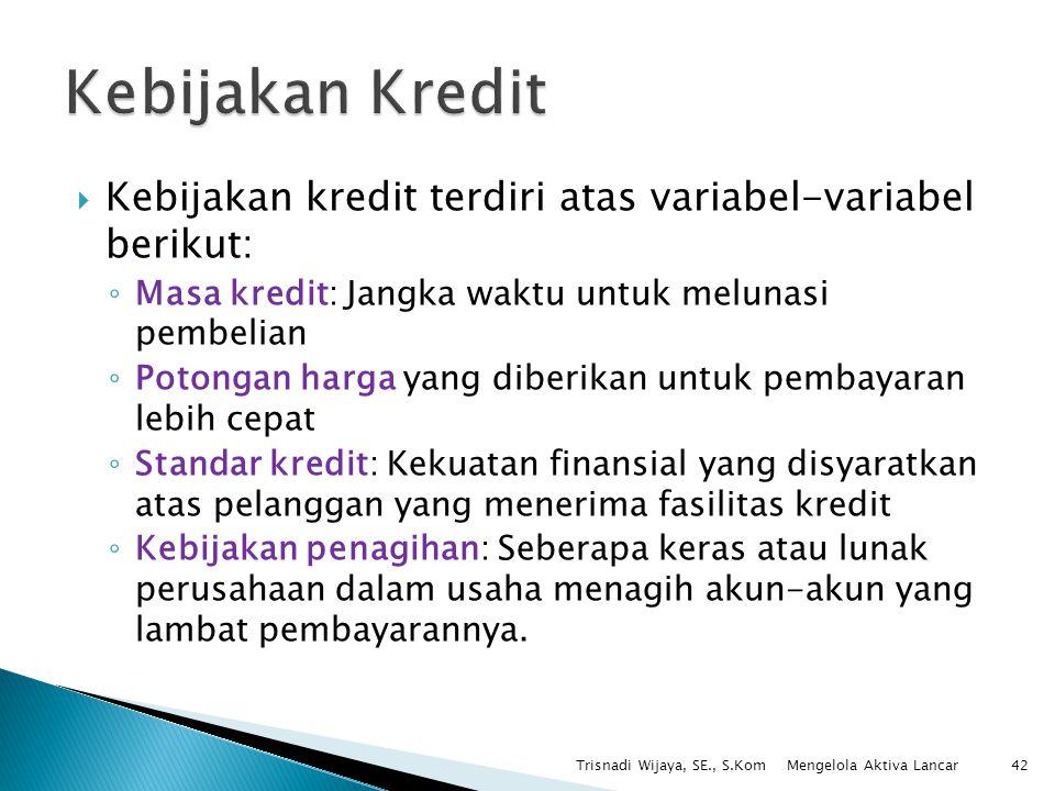  Kebijakan kredit terdiri atas variabel-variabel berikut: ◦ Masa kredit: Jangka waktu untuk melunasi pembelian ◦ Potongan harga yang diberikan untuk