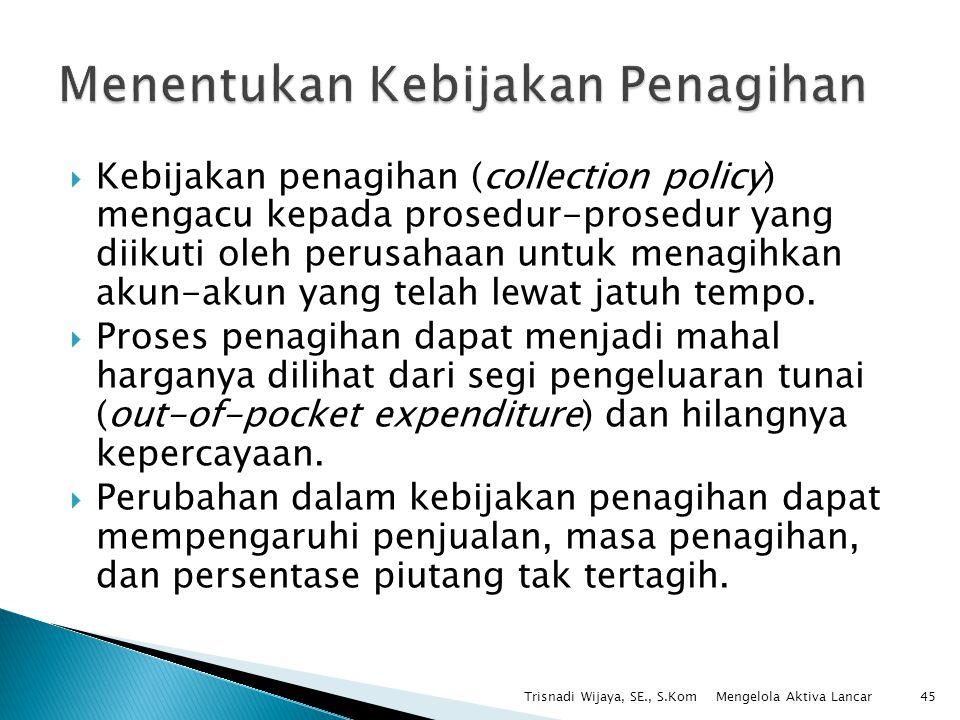  Kebijakan penagihan (collection policy) mengacu kepada prosedur-prosedur yang diikuti oleh perusahaan untuk menagihkan akun-akun yang telah lewat ja
