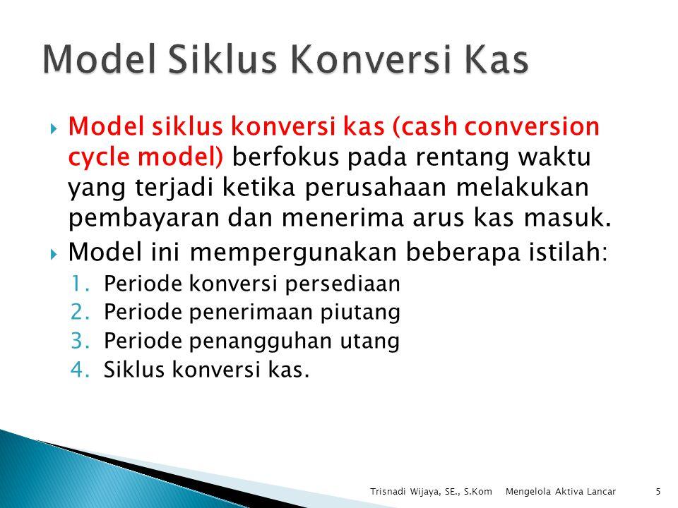  Model siklus konversi kas (cash conversion cycle model) berfokus pada rentang waktu yang terjadi ketika perusahaan melakukan pembayaran dan menerima