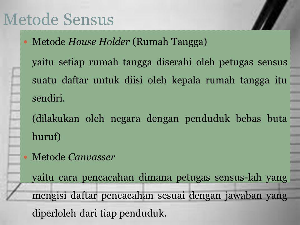 Metode Sensus Metode House Holder (Rumah Tangga) yaitu setiap rumah tangga diserahi oleh petugas sensus suatu daftar untuk diisi oleh kepala rumah tan