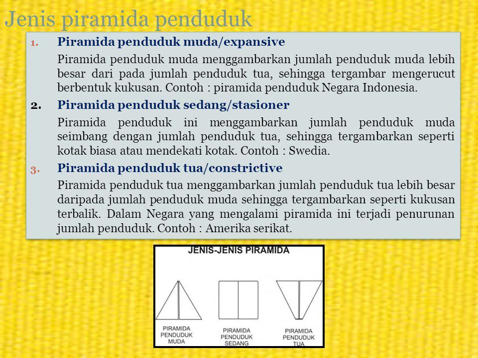 Jenis piramida penduduk 1. Piramida penduduk muda/expansive Piramida penduduk muda menggambarkan jumlah penduduk muda lebih besar dari pada jumlah pen