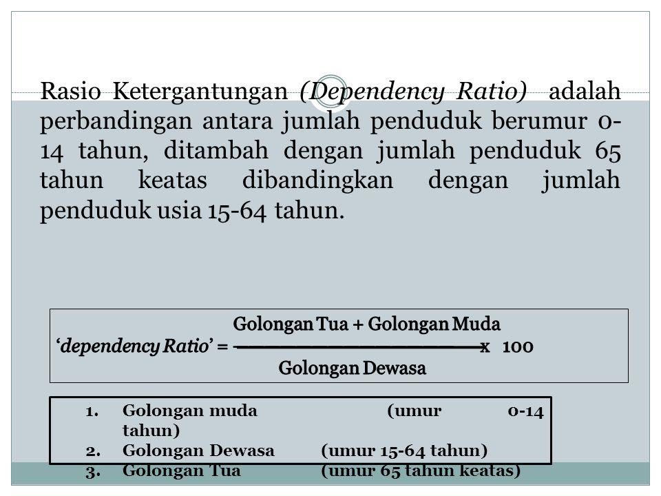 Definisi depedency ratio Rasio Ketergantungan (Dependency Ratio) adalah perbandingan antara jumlah penduduk berumur 0- 14 tahun, ditambah dengan jumla