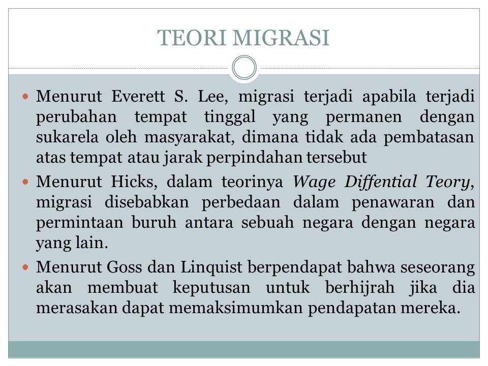 TEORI MIGRASI Menurut Everett S. Lee, migrasi terjadi apabila terjadi perubahan tempat tinggal yang permanen dengan sukarela oleh masyarakat, dimana t