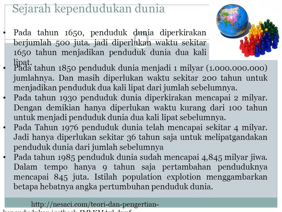 Sejarah kependudukan dunia Pada tahun 1850 penduduk dunia menjadi 1 milyar (1.000.000.000) jumlahnya. Dan masih diperlukan waktu sekitar 200 tahun unt