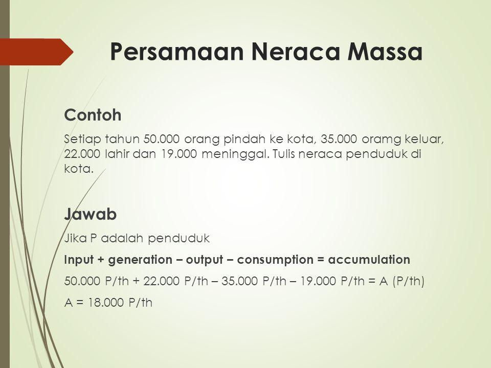 Persamaan Neraca Massa Contoh Setiap tahun 50.000 orang pindah ke kota, 35.000 oramg keluar, 22.000 lahir dan 19.000 meninggal. Tulis neraca penduduk