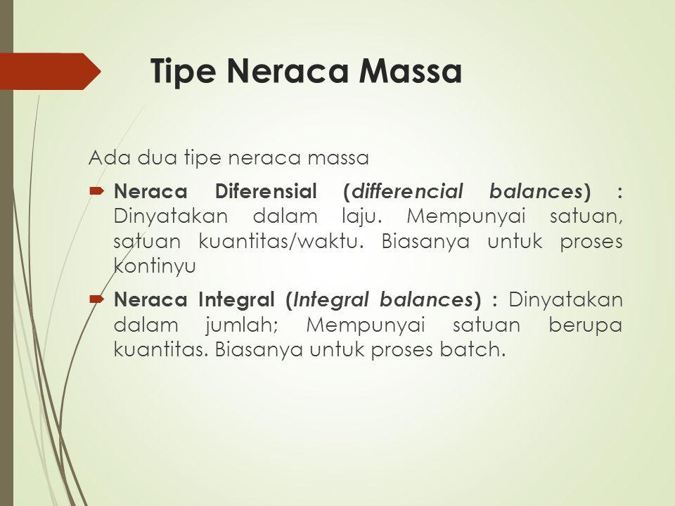 Tipe Neraca Massa Ada dua tipe neraca massa  Neraca Diferensial ( differencial balances ) : Dinyatakan dalam laju. Mempunyai satuan, satuan kuantitas