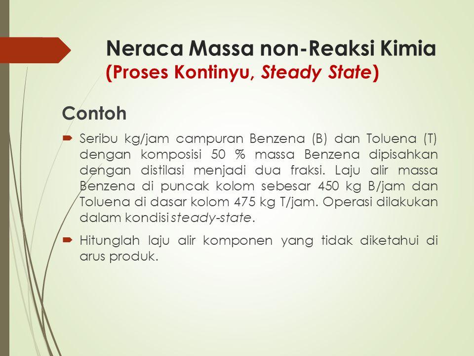 Neraca Massa non-Reaksi Kimia (Proses Kontinyu, Steady State ) Contoh  Seribu kg/jam campuran Benzena (B) dan Toluena (T) dengan komposisi 50 % massa