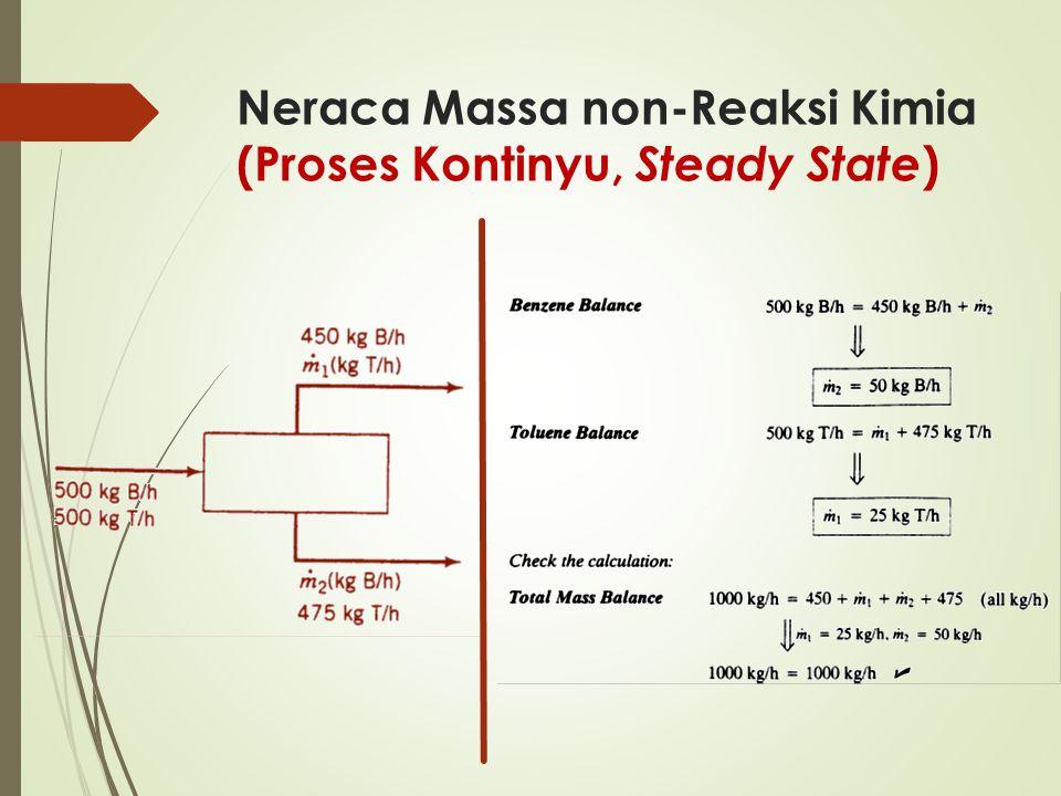 Neraca Massa non-Reaksi Kimia (Proses Kontinyu, Steady State )