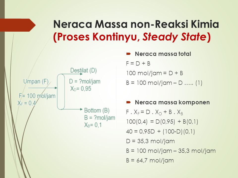 Neraca Massa non-Reaksi Kimia (Proses Kontinyu, Steady State )  Neraca massa total F = D + B 100 mol/jam = D + B B = 100 mol/jam – D ….. (1)  Neraca