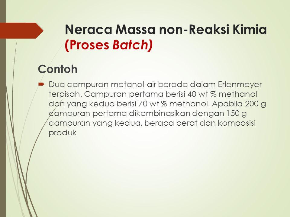 Neraca Massa non-Reaksi Kimia (Proses Batch) Contoh  Dua campuran metanol-air berada dalam Erlenmeyer terpisah. Campuran pertama berisi 40 wt % metha