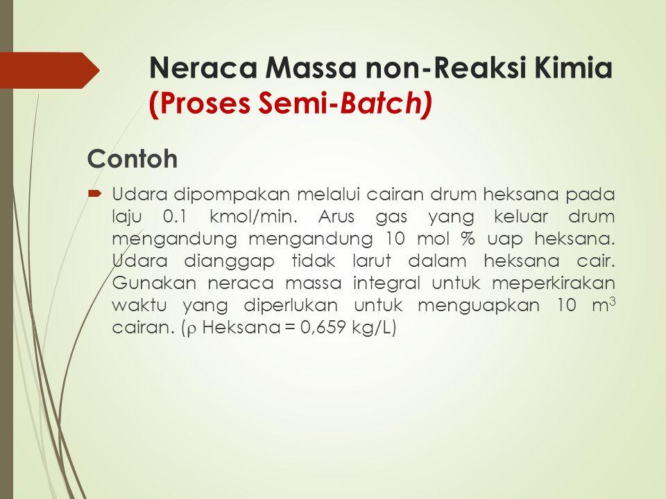 Neraca Massa non-Reaksi Kimia (Proses Semi- Batch) Contoh  Udara dipompakan melalui cairan drum heksana pada laju 0.1 kmol/min. Arus gas yang keluar