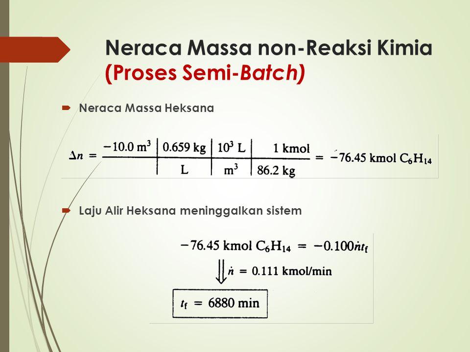 Neraca Massa non-Reaksi Kimia (Proses Semi- Batch)  Neraca Massa Heksana  Laju Alir Heksana meninggalkan sistem