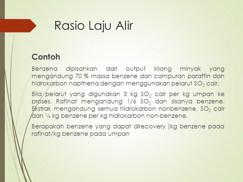 Rasio Laju Alir Contoh Benzena dipisahkan dari output kilang minyak yang mengandung 70 % massa benzene dan campuran paraffin dan hidrokarbon napthena