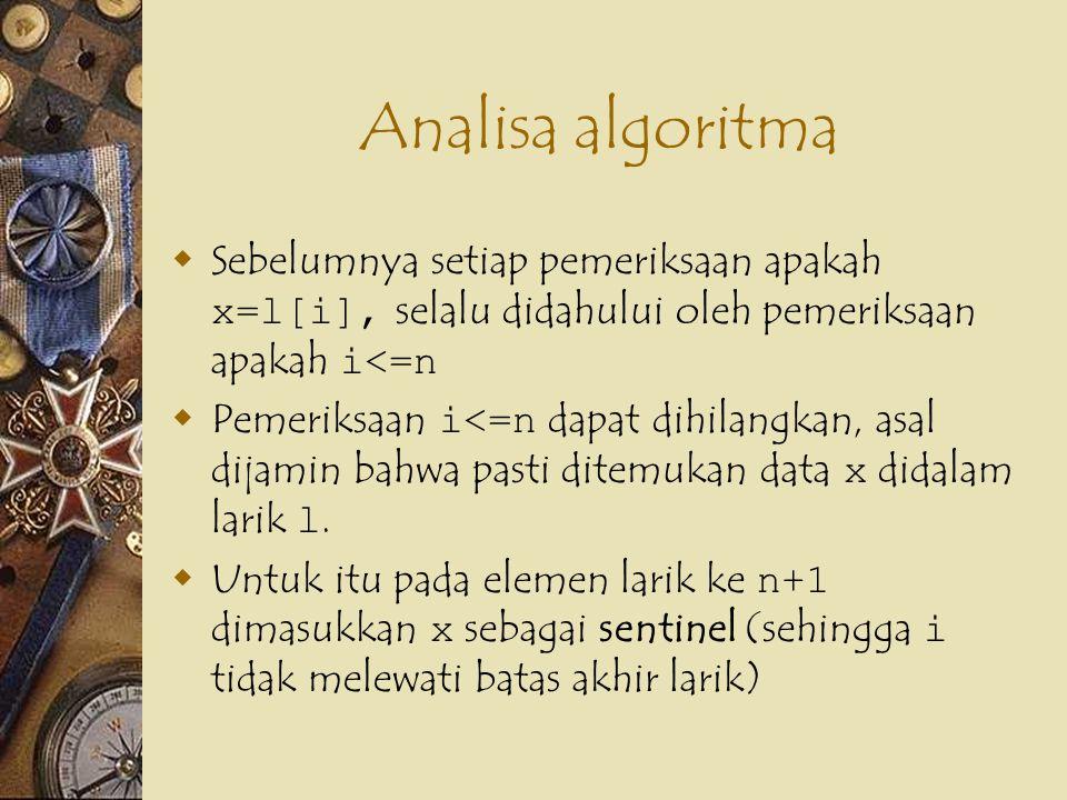 Analisa algoritma  Sebelumnya setiap pemeriksaan apakah x=l[i], selalu didahului oleh pemeriksaan apakah i<=n  Pemeriksaan i<=n dapat dihilangkan, asal dijamin bahwa pasti ditemukan data x didalam larik l.