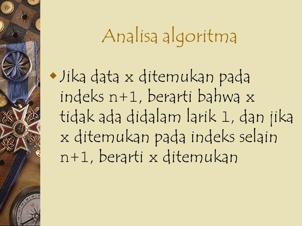 Pengembangan Algoritma Func CariSentinel (x, l, n) l[n+1] := x {pasang sentinel} i := 1 while x <> l[i] do i := i + 1 ewhile if i = n + 1 then return (0) {x tidak ditemukan} else return (i) eif efunc