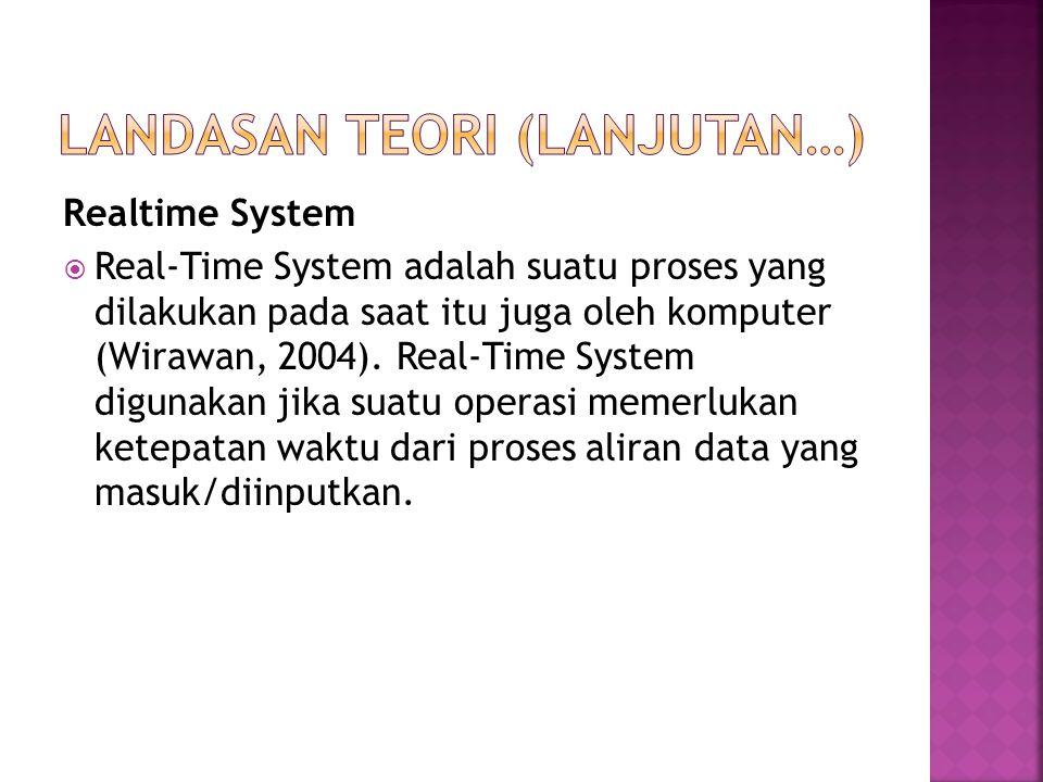 Realtime System  Real-Time System adalah suatu proses yang dilakukan pada saat itu juga oleh komputer (Wirawan, 2004). Real-Time System digunakan jik