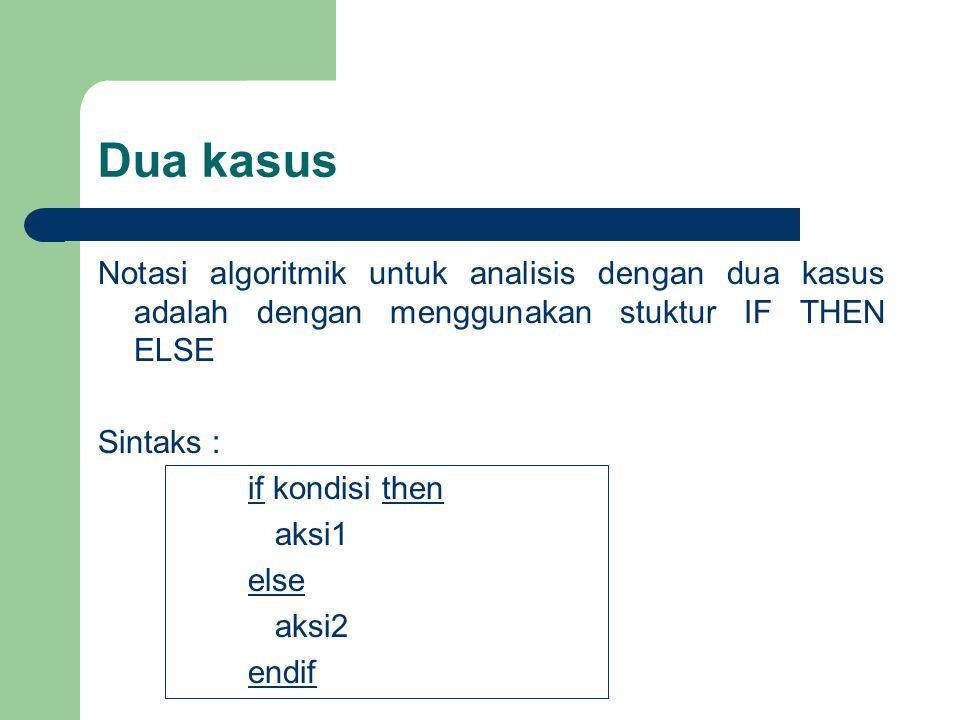 Dua kasus Notasi algoritmik untuk analisis dengan dua kasus adalah dengan menggunakan stuktur IF THEN ELSE Sintaks : if kondisi then aksi1 else aksi2