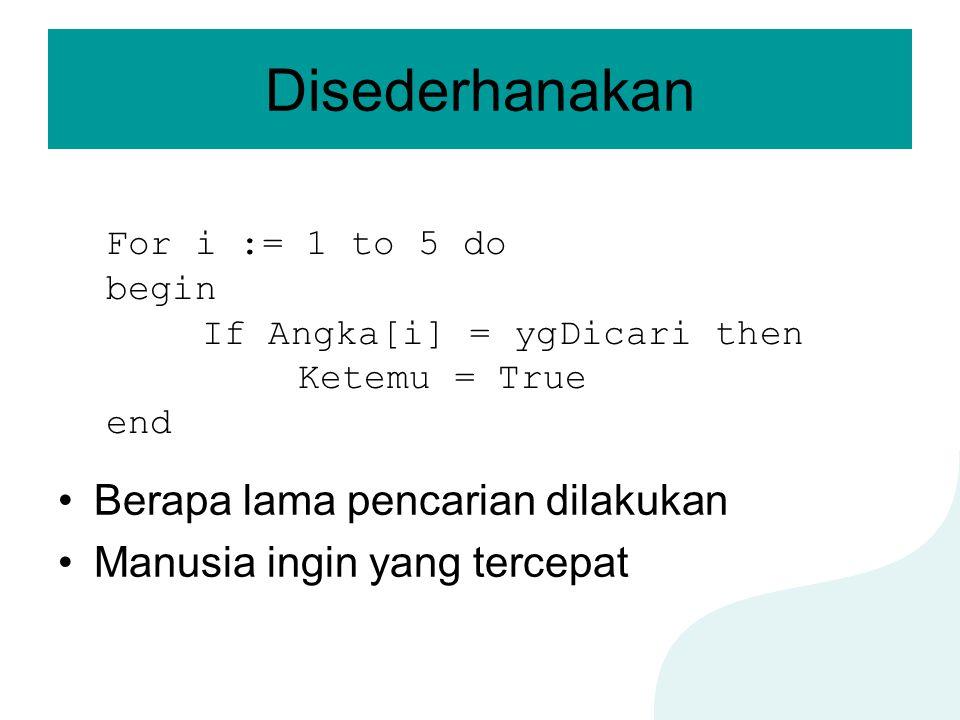 Disederhanakan Berapa lama pencarian dilakukan Manusia ingin yang tercepat For i := 1 to 5 do begin If Angka[i] = ygDicari then Ketemu = True end