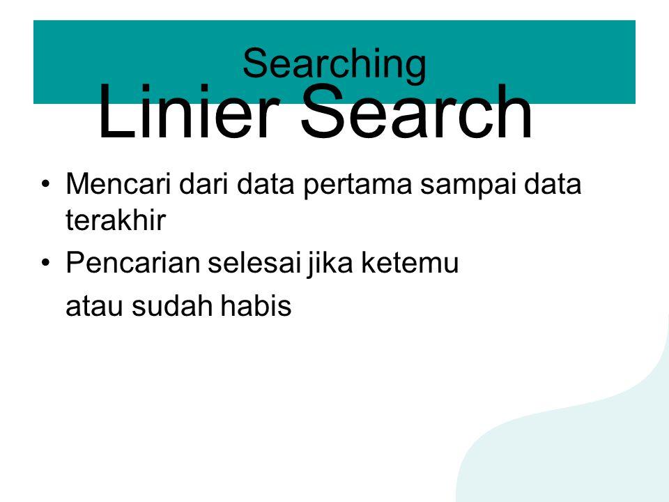 Searching Mencari dari data pertama sampai data terakhir Pencarian selesai jika ketemu atau sudah habis Linier Search