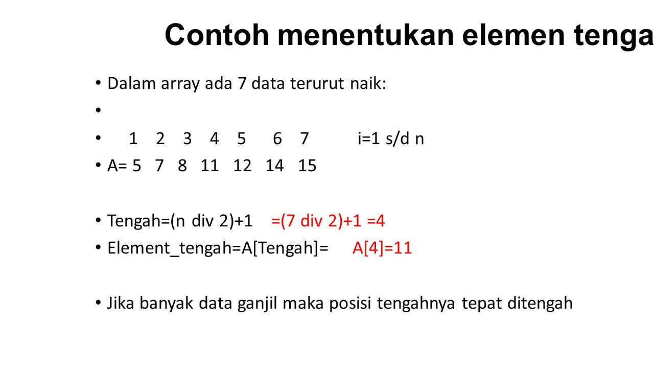 Contoh Kasus: Dalam array ada 6 data terurut naik: 1 2 3 4 5 6i=1 s/d n A= 2 7 11 17 17 18 Asumsikan data array yang dimasukan sudah terurut naik Buatlah programnya!