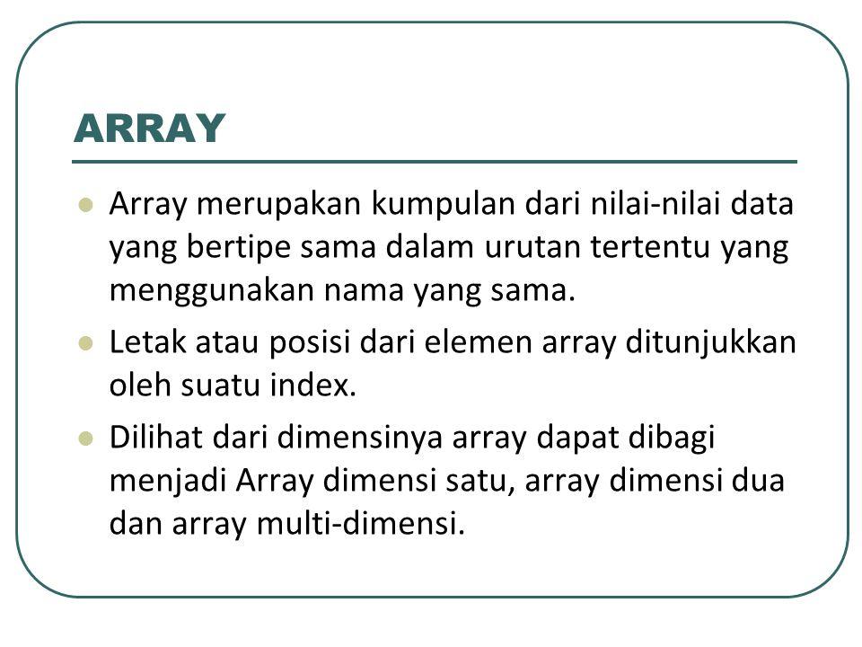 ARRAY Array merupakan kumpulan dari nilai-nilai data yang bertipe sama dalam urutan tertentu yang menggunakan nama yang sama. Letak atau posisi dari e