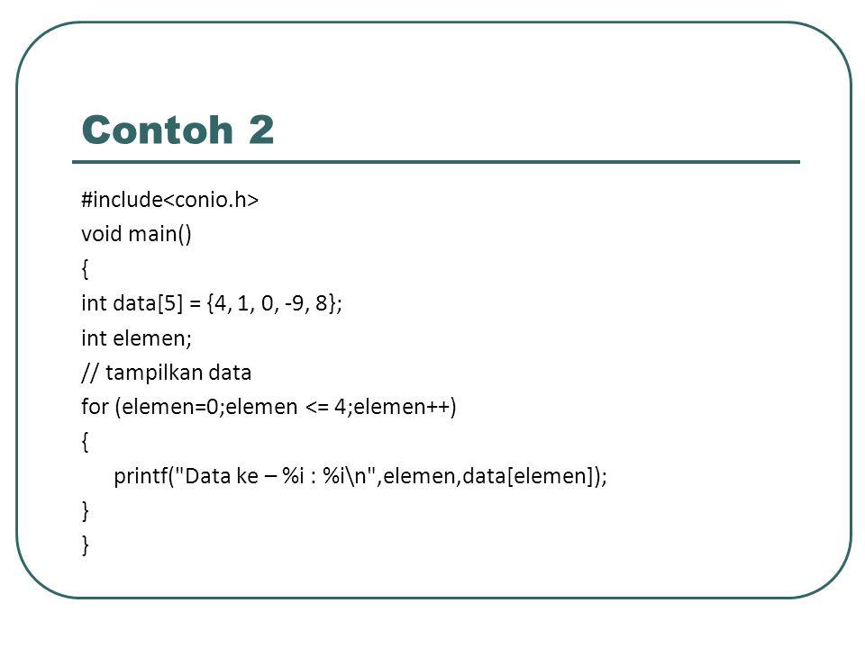 Contoh 3 Program untuk mencari data dari array, dan menampilkan nomor elemennya.