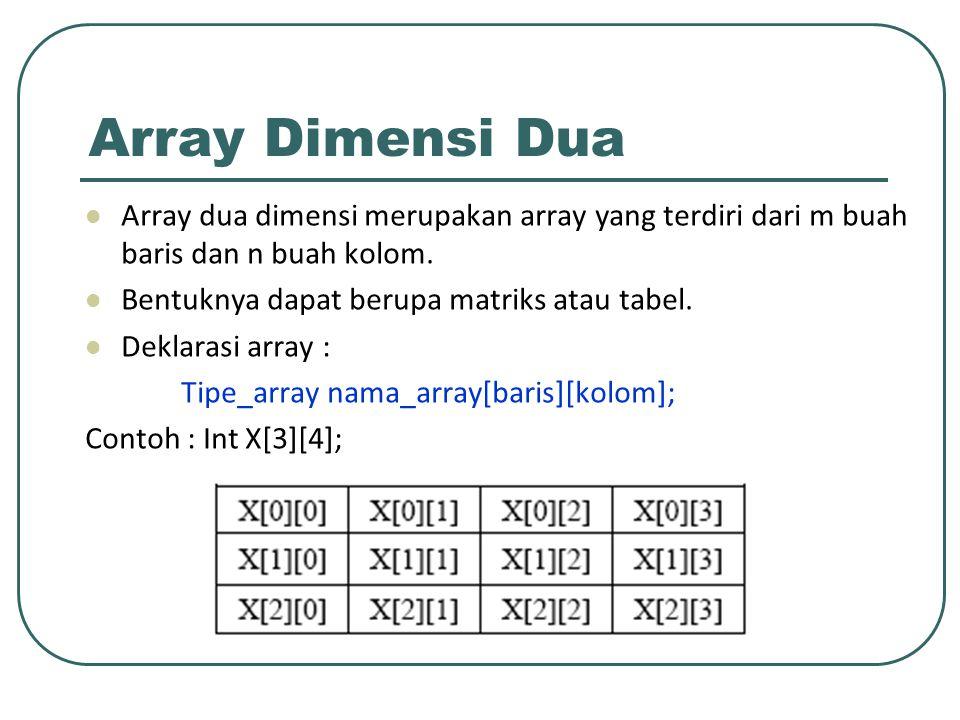 Cara mengakses array Untuk mengakses array, misalnya ingin mengisi elemen array baris 2 kolom 3 dengan 10 maka perintahnya adalah sbb : X[1][2] = 10; Untuk mengisi dan menampilkan isi elemen array ada dua cara yaitu : ♦ Row Major Order (secara baris per baris) ♦ Column Major Order (secara kolom per kolom)