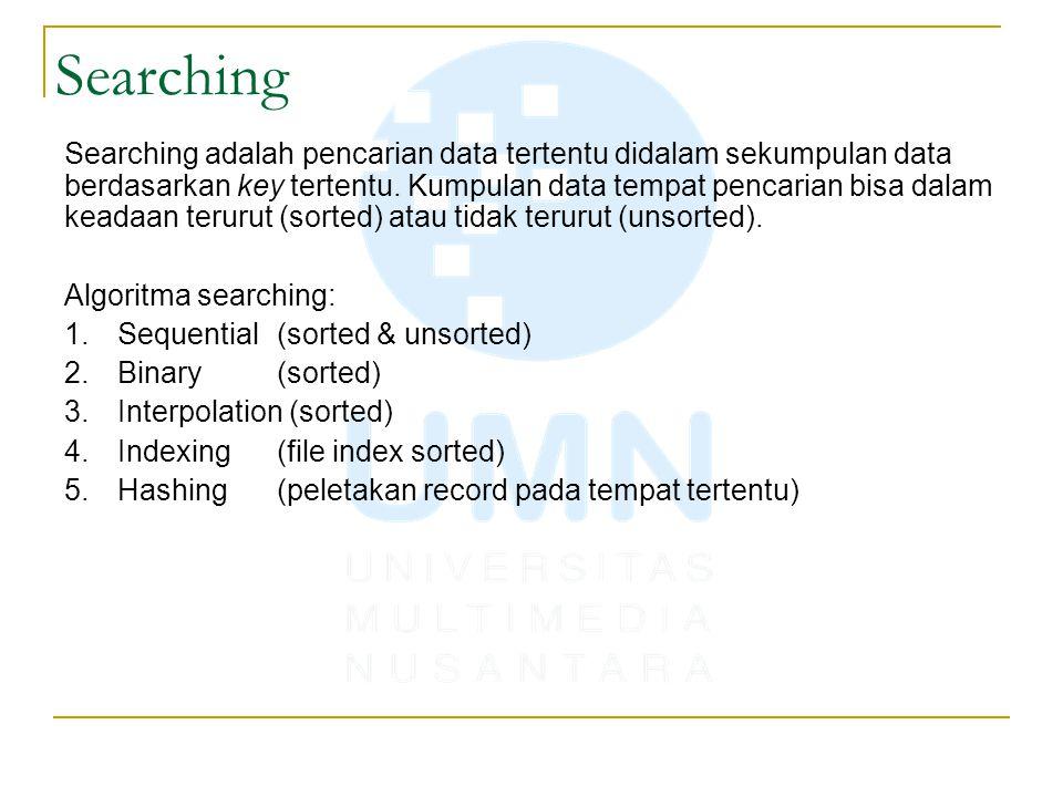 Searching adalah pencarian data tertentu didalam sekumpulan data berdasarkan key tertentu. Kumpulan data tempat pencarian bisa dalam keadaan terurut (
