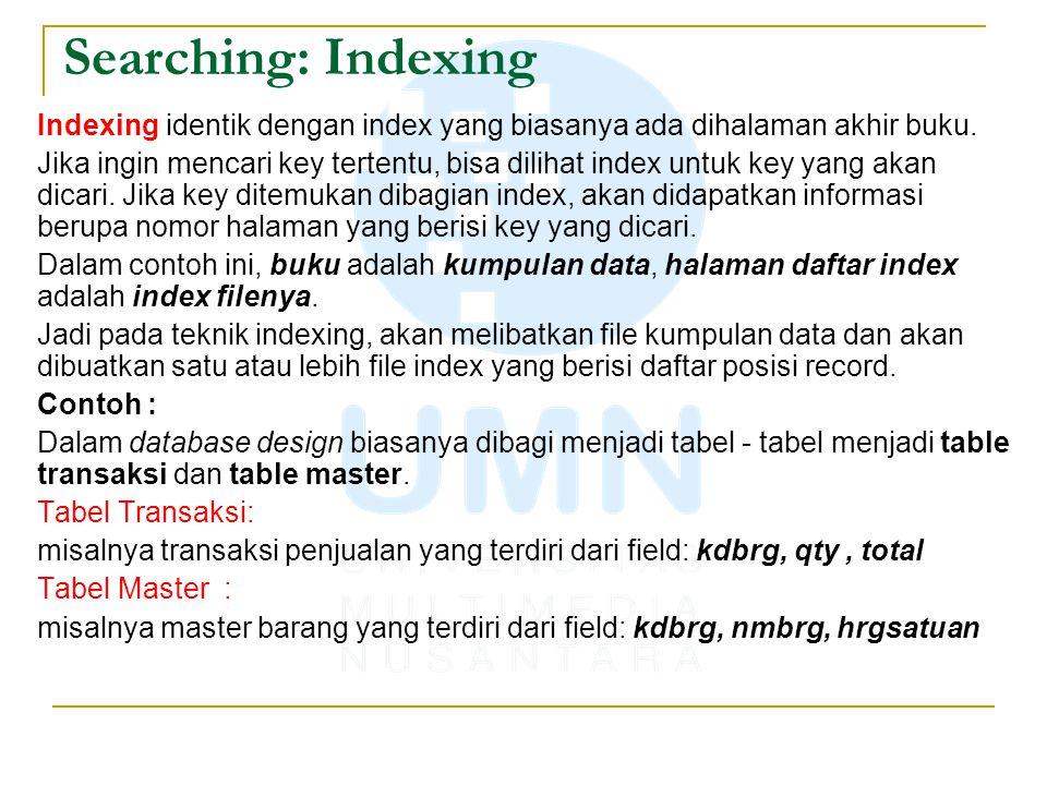 Searching: Indexing Indexing identik dengan index yang biasanya ada dihalaman akhir buku. Jika ingin mencari key tertentu, bisa dilihat index untuk ke