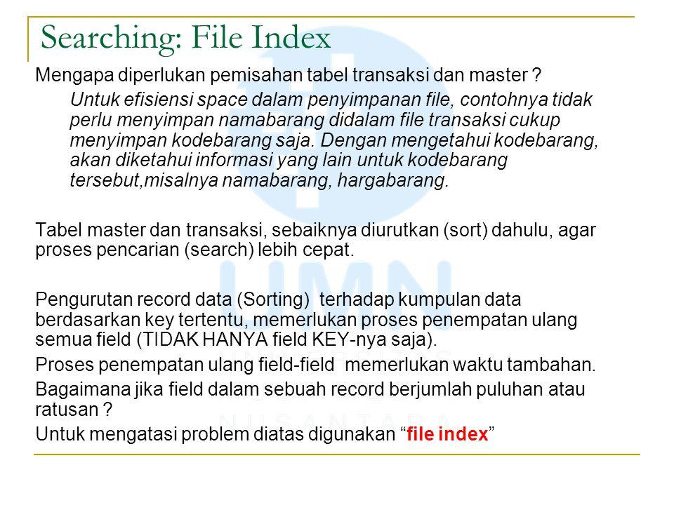 Searching: File Index Mengapa diperlukan pemisahan tabel transaksi dan master ? Untuk efisiensi space dalam penyimpanan file, contohnya tidak perlu me