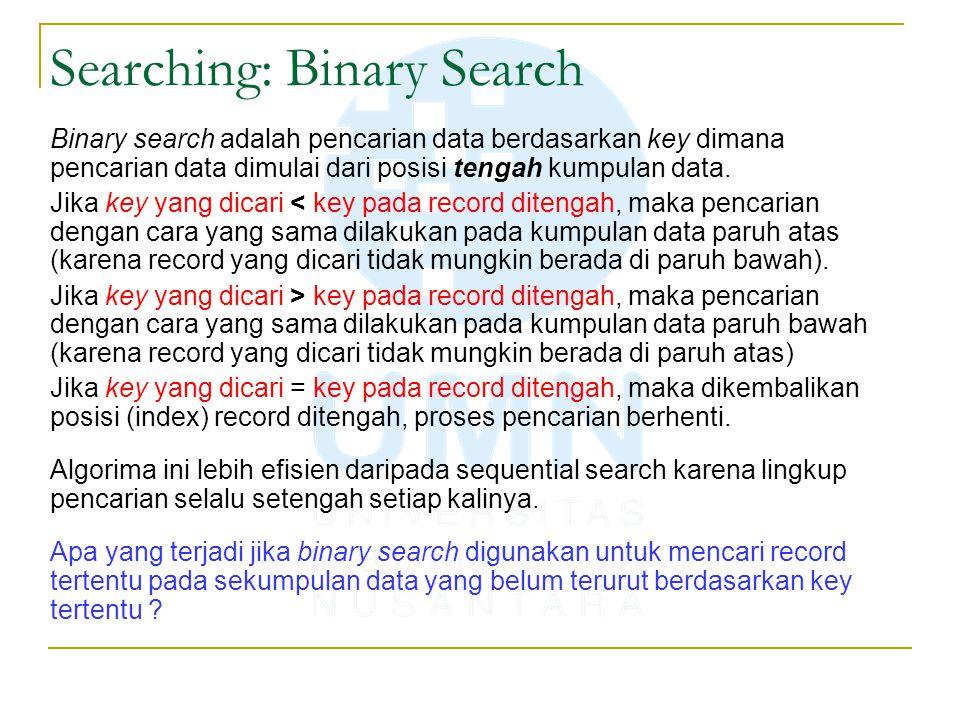 Searching: Binary Search Binary search adalah pencarian data berdasarkan key dimana pencarian data dimulai dari posisi tengah kumpulan data. Jika key