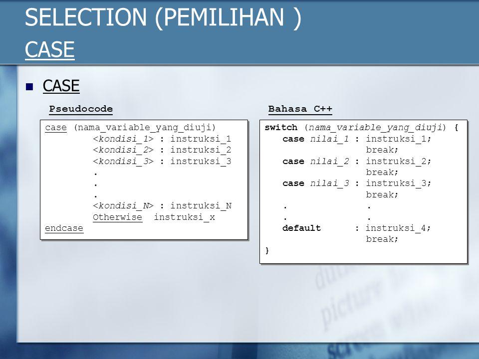 SELECTION (PEMILIHAN ) CASE CASE case (nama_variable_yang_diuji) : instruksi_1 : instruksi_2 : instruksi_3. : instruksi_N Otherwise instruksi_x endcas
