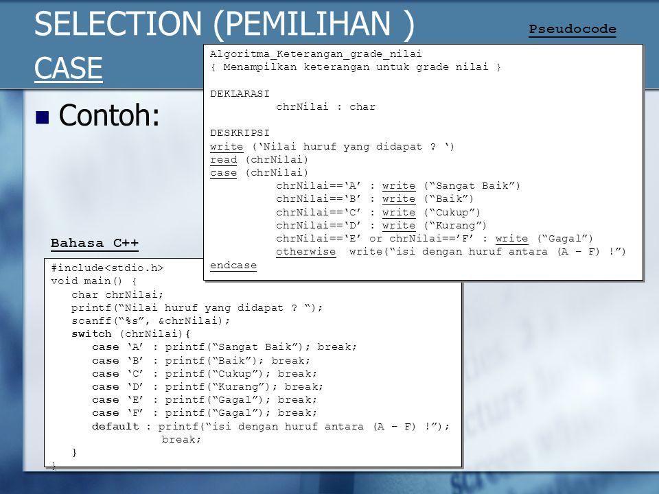 "SELECTION (PEMILIHAN ) CASE Contoh: #include void main() { char chrNilai; printf(""Nilai huruf yang didapat ? ""); scanff(""%s"", &chrNilai); switch (chrN"