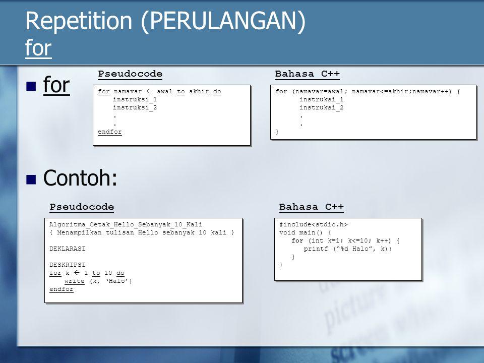 Repetition (PERULANGAN) for for Contoh: PseudocodeBahasa C++ PseudocodeBahasa C++ for namavar  awal to akhir do instruksi_1 instruksi_2. endfor for n