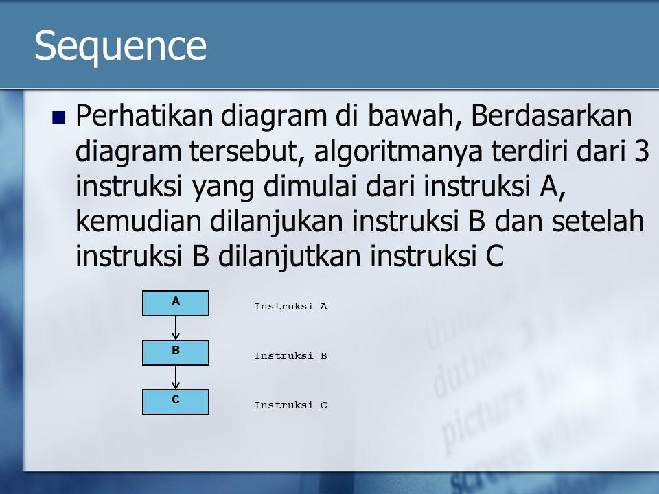 Sequence Perhatikan diagram di bawah, Berdasarkan diagram tersebut, algoritmanya terdiri dari 3 instruksi yang dimulai dari instruksi A, kemudian dila
