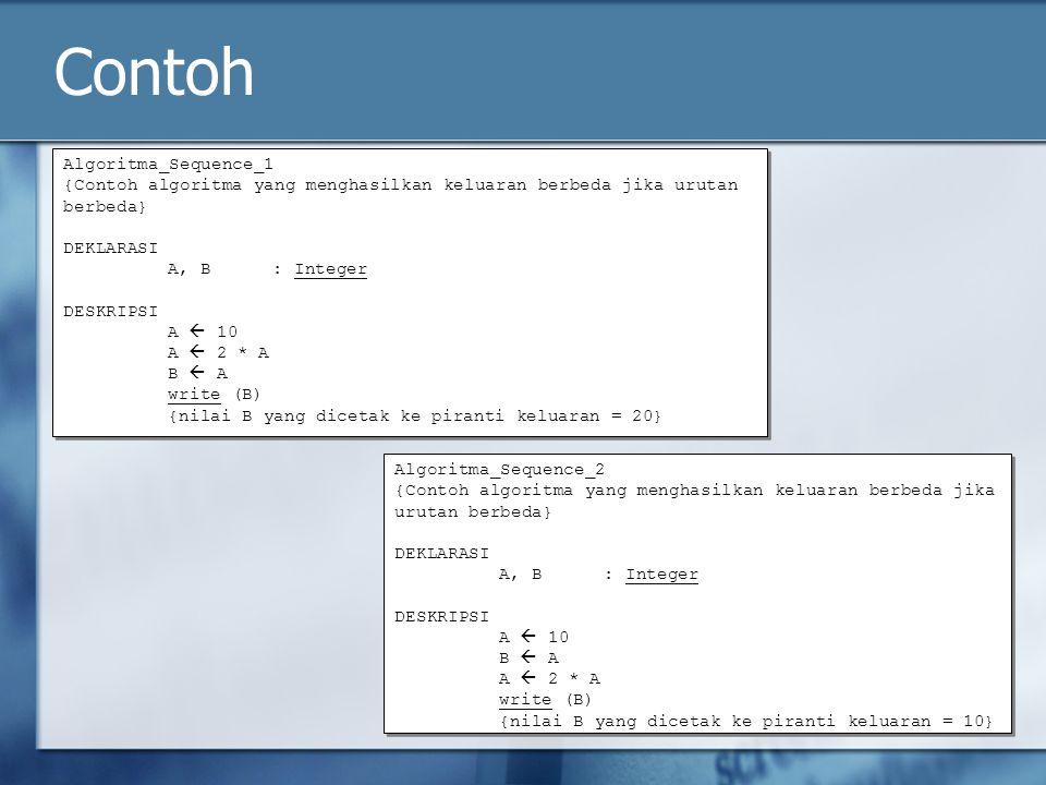 Contoh Algoritma_Sequence_1 {Contoh algoritma yang menghasilkan keluaran berbeda jika urutan berbeda} DEKLARASI A, B: Integer DESKRIPSI A  10 A  2 *