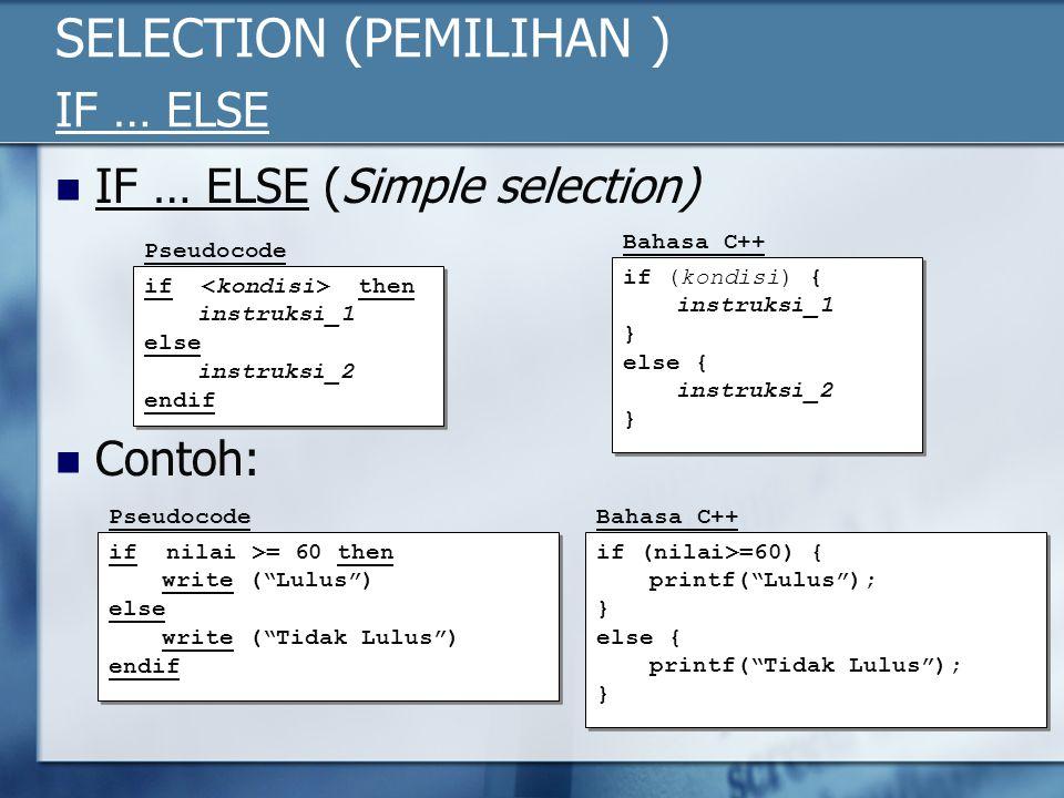 SELECTION (PEMILIHAN ) IF … ELSE IF … ELSE (Simple selection) Contoh: if then instruksi_1 else instruksi_2 endif if then instruksi_1 else instruksi_2