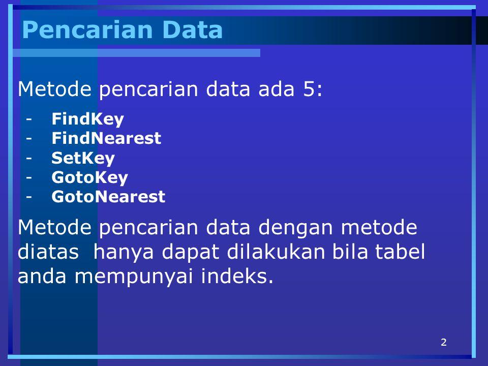 2 Pencarian Data -FindKey -FindNearest -SetKey -GotoKey -GotoNearest Metode pencarian data ada 5: Metode pencarian data dengan metode diatas hanya dapat dilakukan bila tabel anda mempunyai indeks.