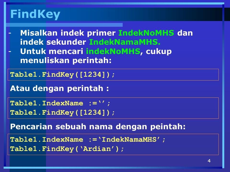 4 FindKey -Misalkan indek primer IndekNoMHS dan indek sekunder IndekNamaMHS. -Untuk mencari indekNoMHS, cukup menuliskan perintah: Table1.FindKey([123