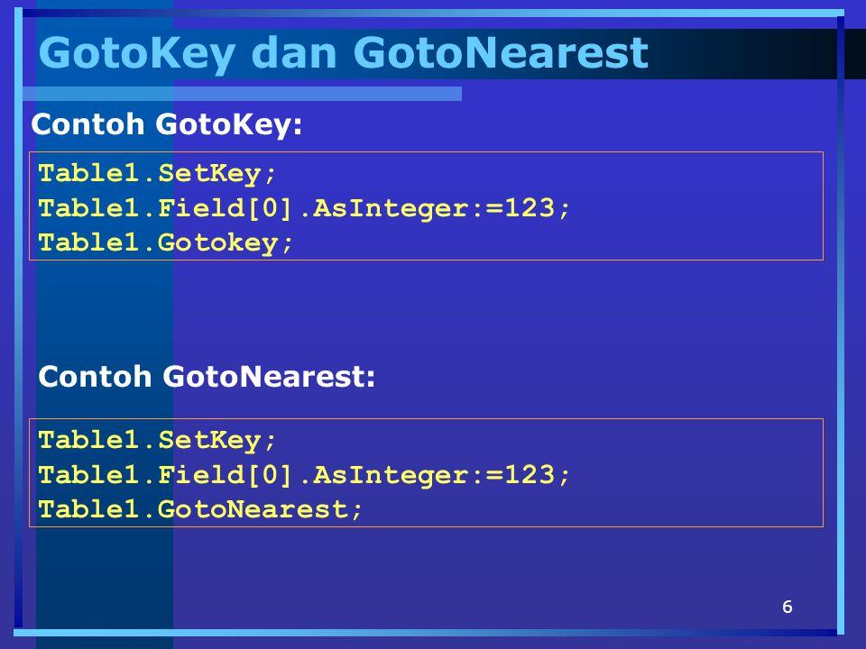 6 GotoKey dan GotoNearest Contoh GotoKey: Table1.SetKey; Table1.Field[0].AsInteger:=123; Table1.Gotokey; Contoh GotoNearest: Table1.SetKey; Table1.Field[0].AsInteger:=123; Table1.GotoNearest;