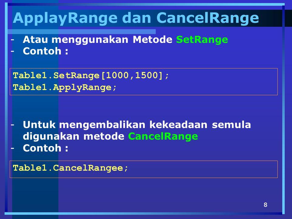 8 ApplayRange dan CancelRange -Atau menggunakan Metode SetRange -Contoh : Table1.SetRange[1000,1500]; Table1.ApplyRange; -Untuk mengembalikan kekeadaan semula digunakan metode CancelRange -Contoh : Table1.CancelRangee;